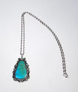 Sterling & Turquoise Pendant Necklace