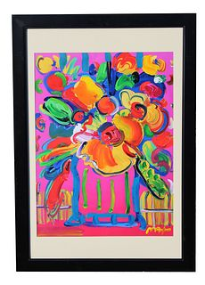 """Peter Max """"Abstract Flowers III"""" Mixed Media"""