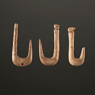 A Group of Three Bone Fish Hooks, Largest 1 in.