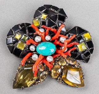 Iradj Moini Silver-Tone Flower Brooch / Pendant
