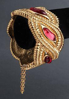Scherrer Paris Gold-Tone & Ruby Gripoix Bracelet