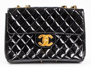 Chanel Black Patent Leather Flap Handbag