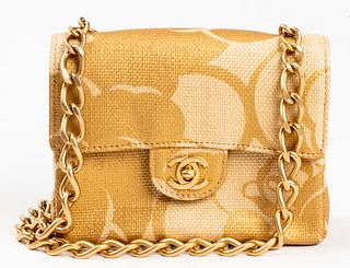 Chanel Raffia Straw Square Classic Mini Flap Bag