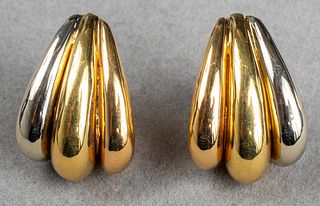 Mid-Century Modern 18K Tri-Gold Clip Earrings