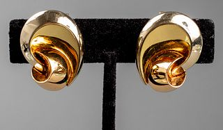 Vintage Marina B 18K Tri-Gold Free Form Earrings