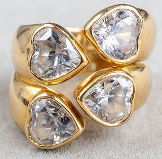 Vintage 18K Yellow Gold Heart Cubic Zirconia Ring