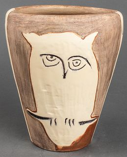 "Pablo Picasso ""Face and Owl"" Pottery Vase, 1958"