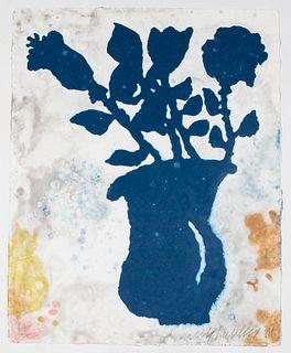 "Donald Baechler ""Flower Vase"" Pochoir in Colors"