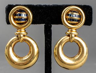 Vintage 18K Yellow Gold & Sapphire Earrings