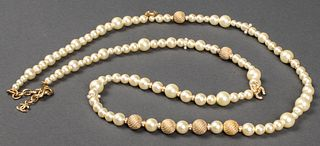 Chanel Faux Pearl And Gold Tone Necklace