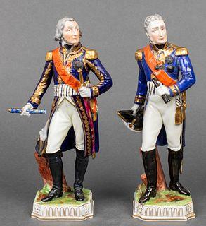 Dresden Porcelain Military Officer Figures, 2