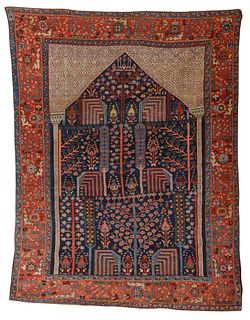Exceptional Bakshaish Prayer Rug, Persia, ca. 1850; 7 ft. 9 in. x 5 ft. 10 in.