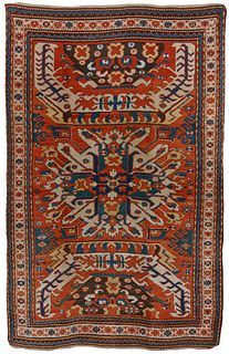A Rare Eagle Kazak Single Medallion Rug, Caucasus, ca. 1875; 7 ft. 3 in. x 4 ft. 8 in.