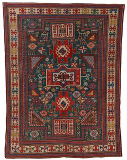Fine Karachoph Kazak Double Niche Prayer Rug, Caucasus, ca. 1875; 6 ft. 6 in. x 4 ft. 10 in.