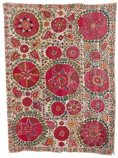 Suzani Embroidery, Turkestan, ca. 1875; 7 ft. 9 in. x 5 ft. 10 in.