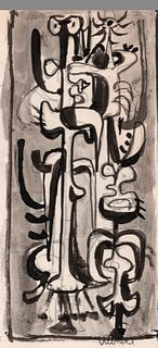 Abstract figures, Ink and Graphite, John Ulbricht, 1940's