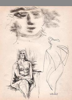 Figures, Ink, John Ulbricht, 1940's