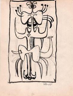 Abstract Figure, Ink, John Ulbricht, 1940's