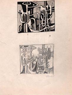 Abstract  Figures, Ink & Pencil, John Ubricht, 1940's