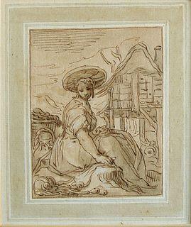 Seated Peasant Girl, Abraham Bloemaert, Dutch