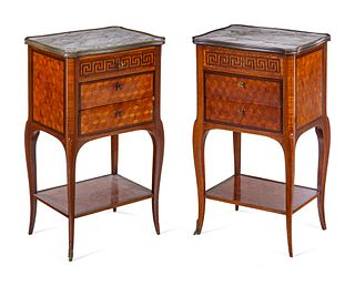 A Pair of Louis XV Style Parquetry Marble-Top Side Tables