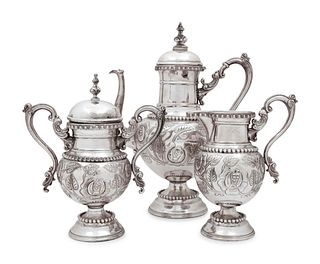 A Mexican Silver Three-Piece Coffee Service