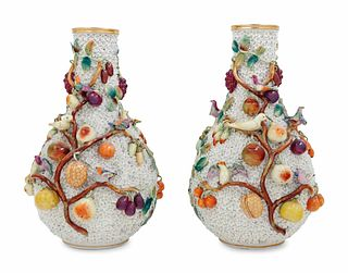 A Pair of Jacob Petit Porcelain Schneeballen Vases