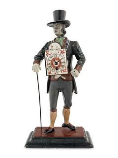 "A German Painted Metal ""Peddler"" Clock"