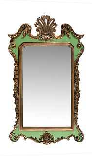 A George III Style Painted and Parcel Gilt Mirror