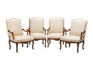 A Set of Four Regence Style Leather-Upholstered Armchairs
