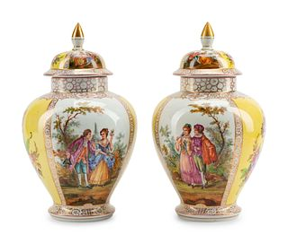 A Pair of Dresden Porcelain Covered Urns