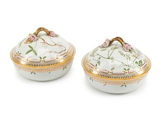 A Pair of Royal Copenhagen Flora Danica Porcelain Covered Entree Dishes