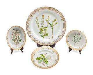 Four Royal Copenhagen Flora Danica  Porcelain Serving Articles
