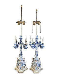 A Pair of Continental Porcelain Candelabra Mounted as Lamps