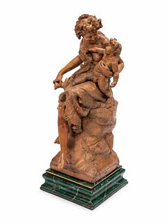A Continental Terra Cotta Figural Group on a Faux Marble Base