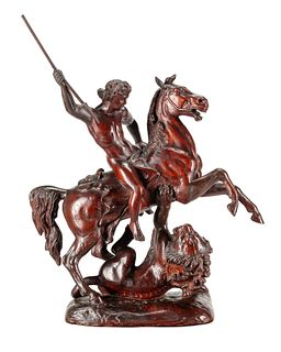 A Carved Wood Figural Group of a Young Man on Horseback Slaying a Lion