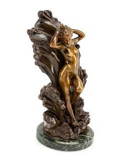 A Continental Gilt and Patinated Bronze Figure of a Nude Against Waves