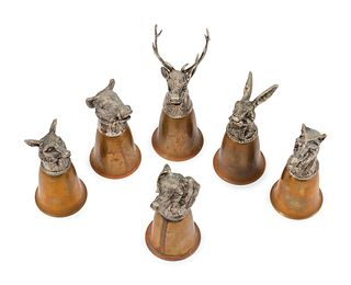 A Group of Six Northern European Bronze Stirrup Cups