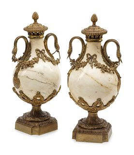 A Pair of Continental Gilt Bronze Mounted Marble Urns