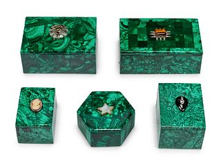 A Group of Five Jeweled Malachite Boxes