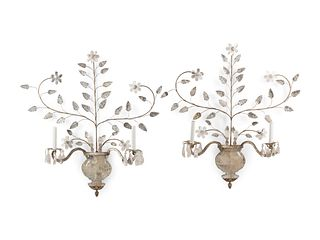 A Pair of Rock Crystal Mounted Two-Light Sconces in the Style of Maison Bagues