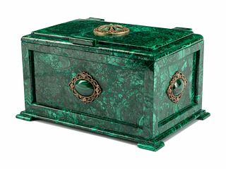 A Continental Malachite Table Casket