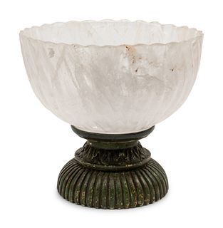 A Large Rock Crystal Center Bowl on a Painted Wood Base