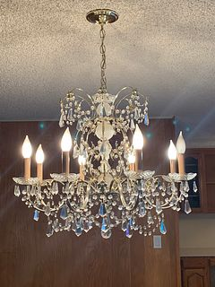 Vintage Brass & Cut Glass Chandelier with 8 Lights