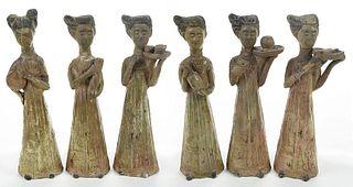 Six Chinese Female Tomb Attendants