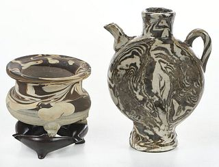 Chinese Marbled Pottery Ewer and Tripod Censer