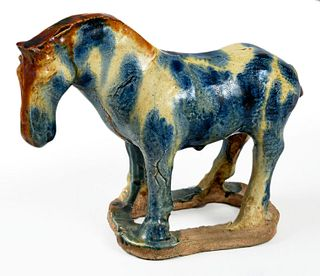 Tang Style Blue and Sancai Glazed Standing Horse