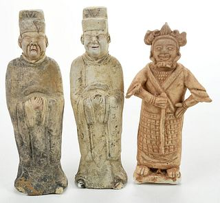 Three Chinese Pottery Figures of Attendants