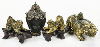 Chinese Gilt Bronze Animal Figures, Snuff Bottle