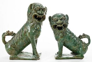 Pair Chinese Celadon Glazed Porcelain Foo Dogs